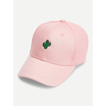 Cactus Embroidered Baseball Cap Pink