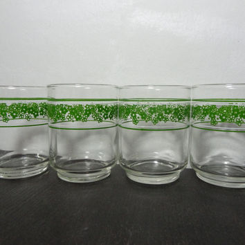 Vintage Libbey Corelle Green Crazy Daisy/ Spring Blossom Juice/Drinking Glasses - Set of 4