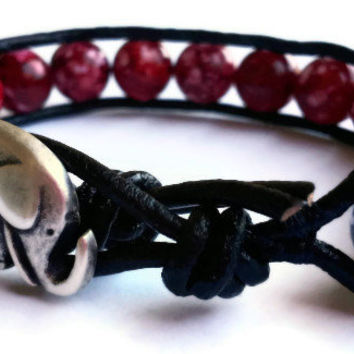 Houndstooth Bracelet /  Lucky Elephant / Beaded Leather Wrap Bracelet / Crimson Bracelet