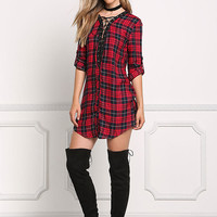 Red Plaid Lace Up Tunic Dress