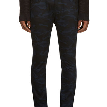 Raf Simons- Sterling Ruby Blue And Black Twill Camouflage Jeans