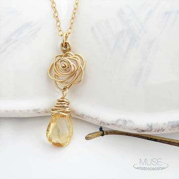 Citrine and Rose Necklace - Gemstone Necklace, Drop Necklace, Dainty Gold Necklace, Delicate Jewelry, Citrine Necklace