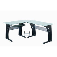 L-Shaped Computer Desk Corner Office Gaming Furniture Table Glass Decor Home