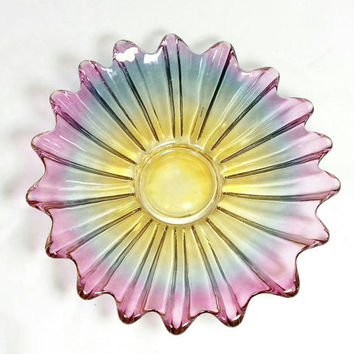 Vintage Colorful Starburst Plate/Iridescent Plate