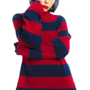 Vintage 90's Red & Navy Stripe Rib Sweater - One Size Fits Many