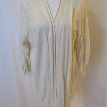 Talbots Women's Tunic Cardigan Size XL Cream Rolled Sleeves Open Front