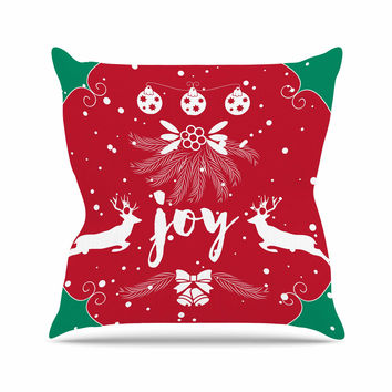 "Famenxt ""Christmas Joy"" Red Green Digital Outdoor Throw Pillow"