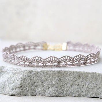 Thelma Grey Lace Choker Necklace