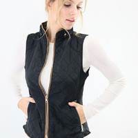 Mystic Forest Black Quilted Puffer Vest With Contrast Trim