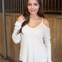 Creamy White Off Shoulder Long Sleeve T-Shirt