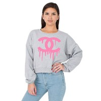 Chanel Top Dripping Chanel Shirt Cropped Sweatshirt