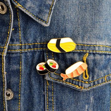 3PCS/SET Japanese Food Sushi Enamel Pins California Roll Pin Ebi Sushi Pin Tamago Sushi Pin Food jewelry Sushi lover gifts
