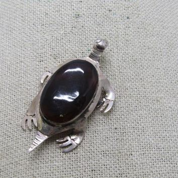 "Vintage Sterling Taxco Turtle Brooch, Brown Tortoiseshell, 2.25"", Mexico, 1970's"