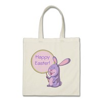 Lavender Pink Bunny Holding Signboard Budget Tote