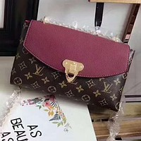 LV Popular Women Shopping Bag Monogram Leather Crossbody Satchel Shoulder Bag Burgundy I-AGG-CZDL