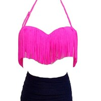 Givemefive Women Bikini High waist Push-up Halter Tassels Bathing Swimwear