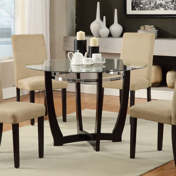 "Poundex F2348-1302 5 pc Allister ii espresso finish wood hazelnut microfiber 45"" round glass top dining table set"