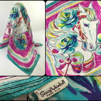 1950s Large Silk Scarf Vintage Horse Art Scarf by Kimball Stylized Horse & Flowers Headscarf in Pink and Turquoise Colorful Horse Silk Scarf
