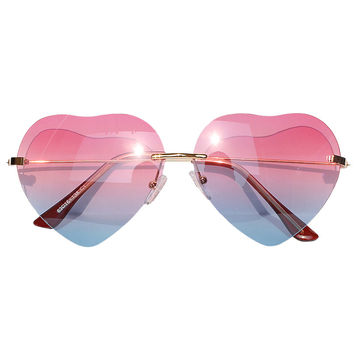 Red and Blue Gradient Heart Shaped Aviator Sunglasses