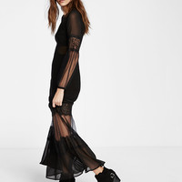 Sheer Bandeau Maxi Dress
