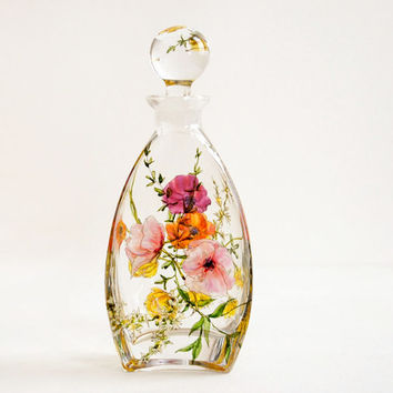 Botanical Modern Glass Decanter - Poppies and Wild Flowers Bouquet