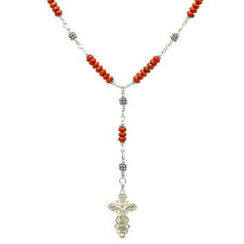 "Sterling Silver 7 Sorrows Rosary Necklace Coral 6mm, Silver Crucifix, 17"" Necklace"