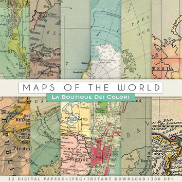 Old maps textures digital paper, Vintage background, Vintage world maps, Instant Download for Personal and Commercial Use