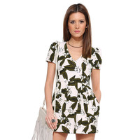 White Leaves Flowers Print Short Sleeves Jumpsuit