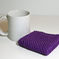 Purple Dishcloth/ Washcloth, Hand Knit, made of 100% cotton
