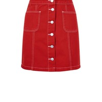 Red Denim Button Front A-Line Skirt | New Look