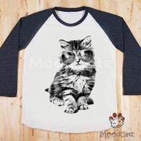 S, M, L -- Glasses Cat T-Shirt Funny T-Shirt Meow Shirt Animal Shirt Women T-Shirt Unisex T-Shirt Baseball Shirt Raglan Tee Green Sleeve Tee