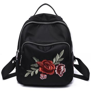 The spring and summer of 2017 new Oxford cloth with soft leather 3D Dragonfly bead embroidery bag one generation