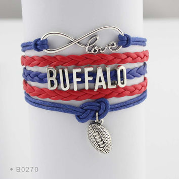 Infinity Love Football Bracelet - Buffalo Football
