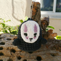 No-Face amigurumi charm - kaonashi keychain - spirited away - plush