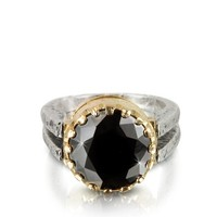 Tryo Designer Rings Black Cubic Zirconia Sterling Silver & Rose Gold Ring