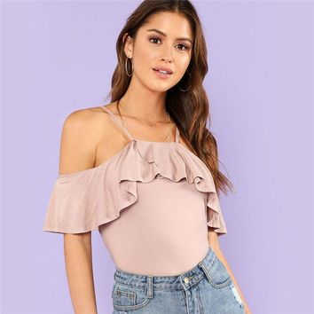 Women Spaghetti Strap Cold Shoulder Ruffle Plain T-shirt  Summer Sexy Top Tee