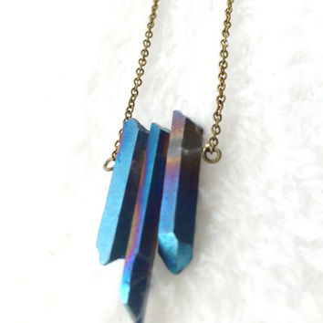 Crystal Necklace, Raw Crystal Necklace, Healing, Titanium Crystal Point Necklace, Blue, Purple, Gemstone Necklace, Boho Three Stone Necklace
