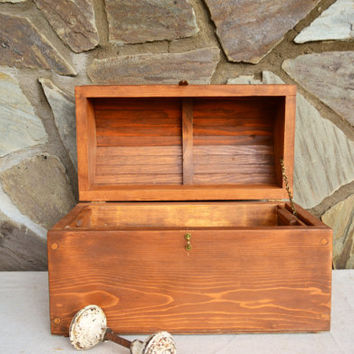 Large Rustic Wooden Chest, Handmade Tabletop Sized Humpback Wood Storage Box, Pirate Style , Gift for Him