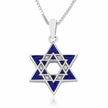 Pendant Star of David with Blue Enamel and Zircon stones in 925 Sterling Silver