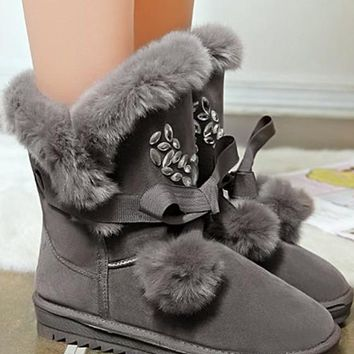 New Women Grey Faux Fur Furball Rhinestone Bow Casual Ankle Boots