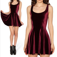 Red Wine Velvet Skater Dess Sexy Vestidos Vintage Style Pleated Winter Women Party Dresses X-065