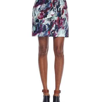 Abstract-Print A-Line Skirt, Multi Colors, Size: