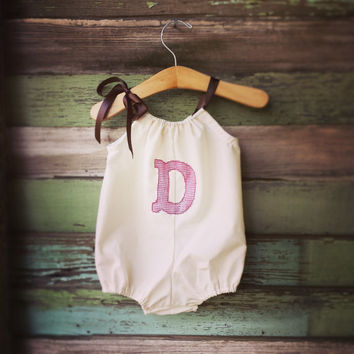 Bubble Romper, letter applique Sunsuit, Monogrammed baby summer outfit, coming home outfit, beach romper, red linen, inital, boho