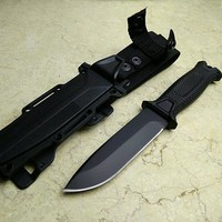 Top military Black or Brown Hunting Fixed Knives,420J2 Blade Rubber Handle Tactical Survival Knife,Camping Knife F with Sheath