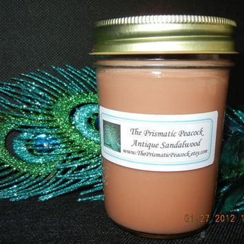 Antique Sandalwood Scented Natural Soy Container Candle in 8 oz Jelly Jar