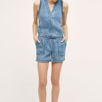 Hei Hei Dottie Chambray Romper in Light Denim Size: