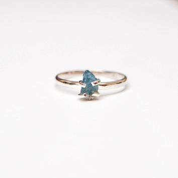 Bicolor tourmaline ring in sterling silver - solitaire ring, prong set, rough, teal blue and white