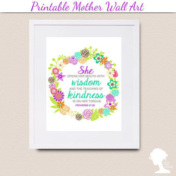 Printable Wall Art 8x10 - Proverbs 31:26 (Virtuous Woman) with Vintage Flowers in Green and Purple on a Round Frame
