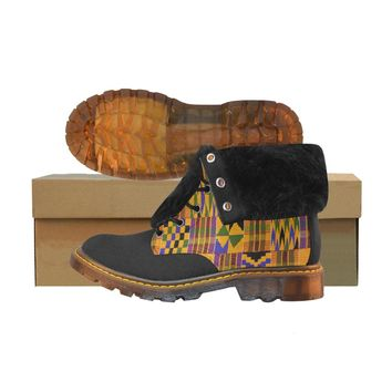 kente print fur boots Winter Fur Collar Women's Boots