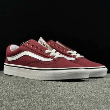 Vans Casual White Stripes Shoes Men And Women Cloth Shoes Wine Red G-AA-SDDSL-KHZHXMKH